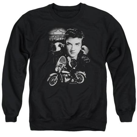 Elvis The King Rides Again   Adult Crewneck Sweatshirt   Black   Lg