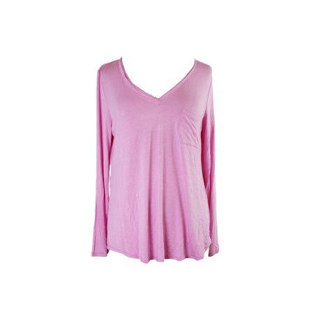 Alfani Pink Long-Sleeve V-Neck Knit Pajama Top XS