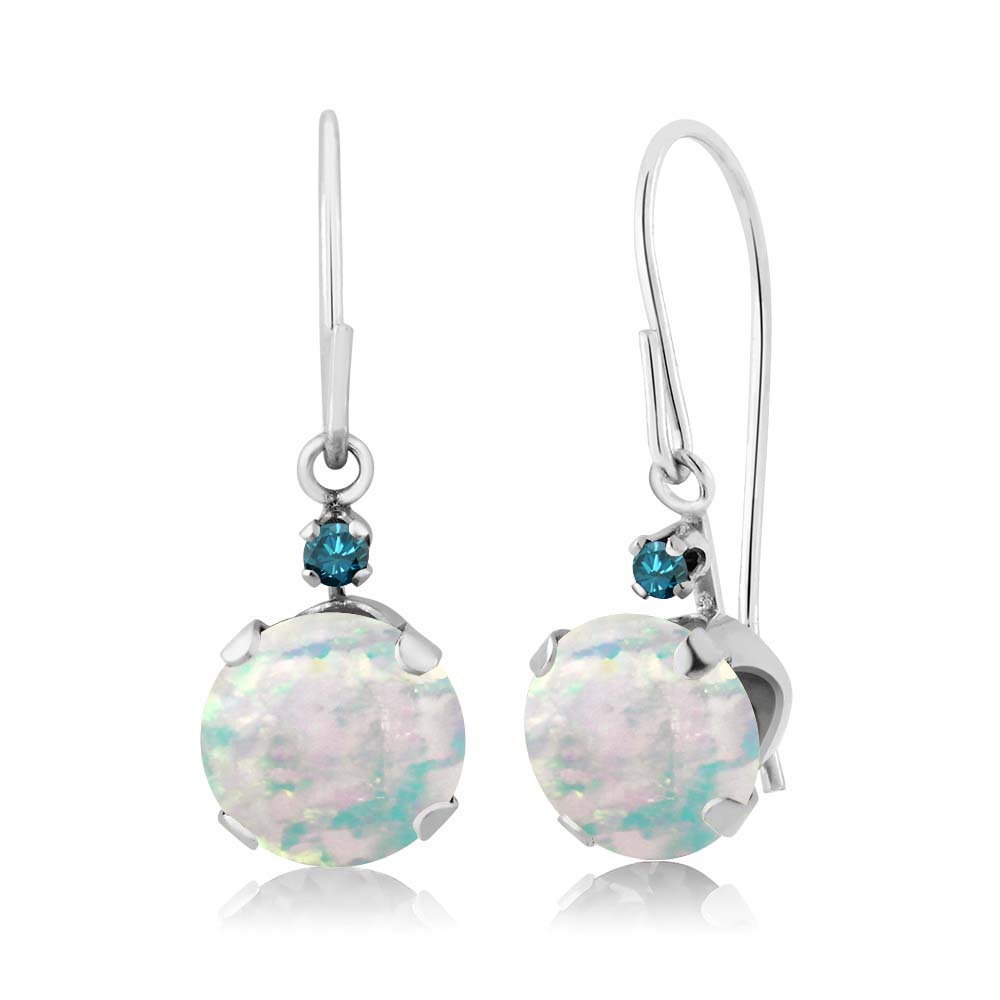 1.33 Ct Round Cabochon White Simulated Opal Blue Diamond 14K White Gold Earrings