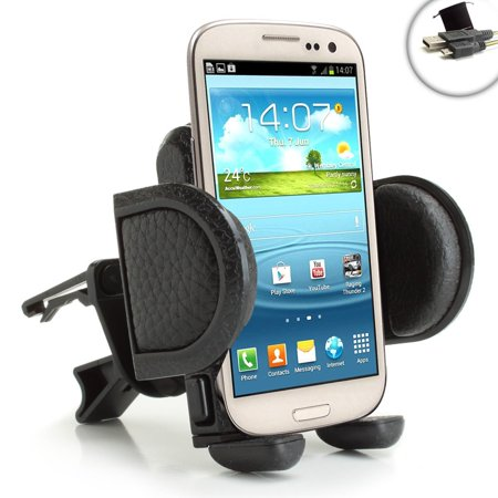 USA Gear One Touch Air Vent Mount Smartphone Holder with Adjustable Display and 360 Degree Rotation _ Works with Samsung Gala