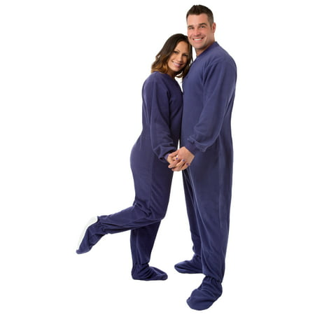 Big Feet PJs Purple Micro-polar Fleece Adult Footed Pajamas Sleeper with Drop Seat