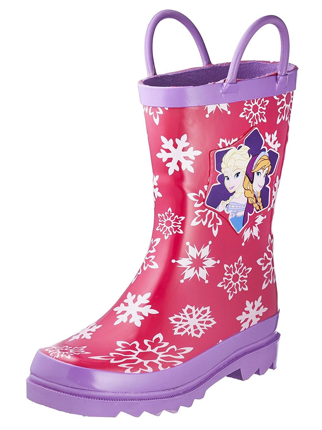 Disney Frozen Girls Anna and Elsa Pink Rain Boots (Toddler / Little Kids)