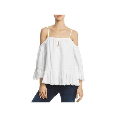 Blank NYC Womens Denim Frayed Hem Pullover Top