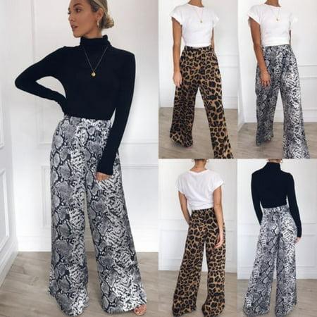 Womens Leopard print Printed Palazzo Wide Leg Long Loose Baggy Casual Pants Yoga Trousers