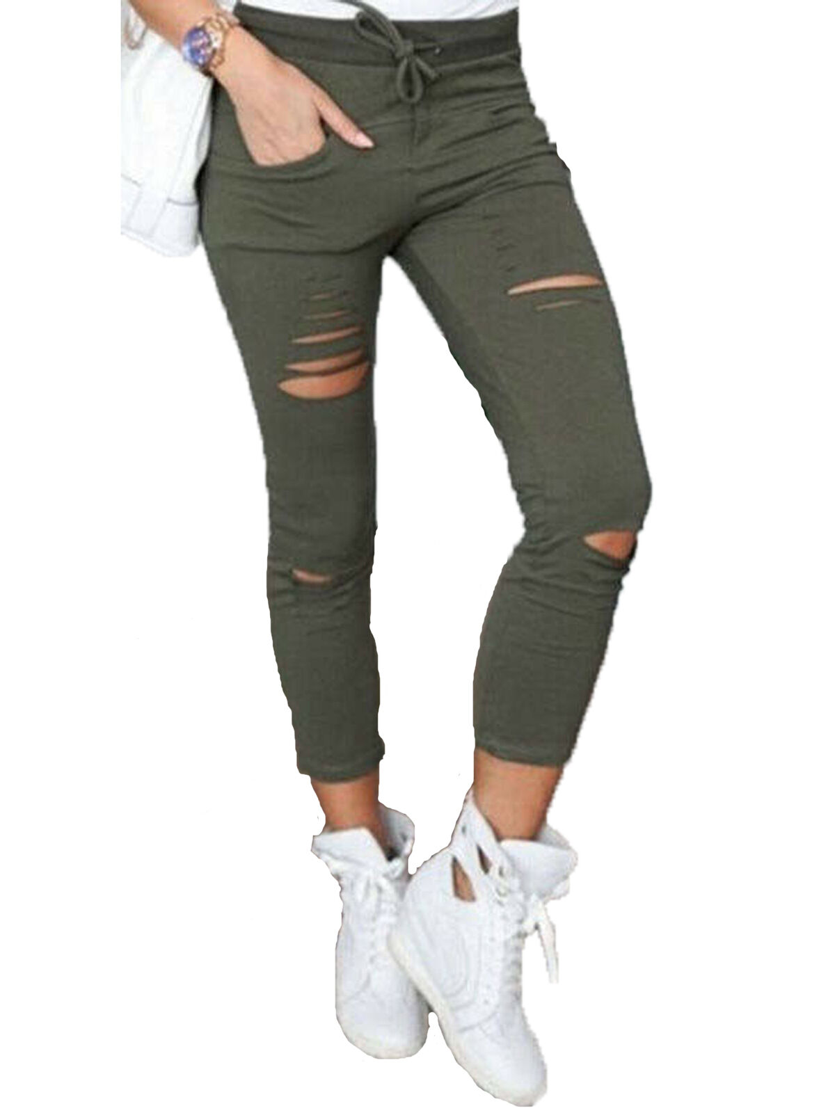 New Womens Grey Faded Slim Skinny Stretch Cargo Pants Fitted Combat Trousers