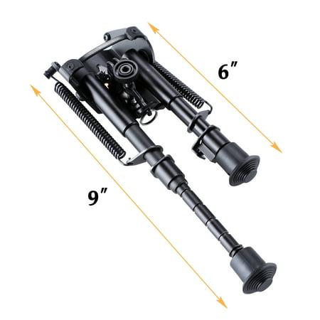 Adjustable Universal Rifle Bipod w/ Swivel Stud Mount & Rail Mount Adapter 6-9