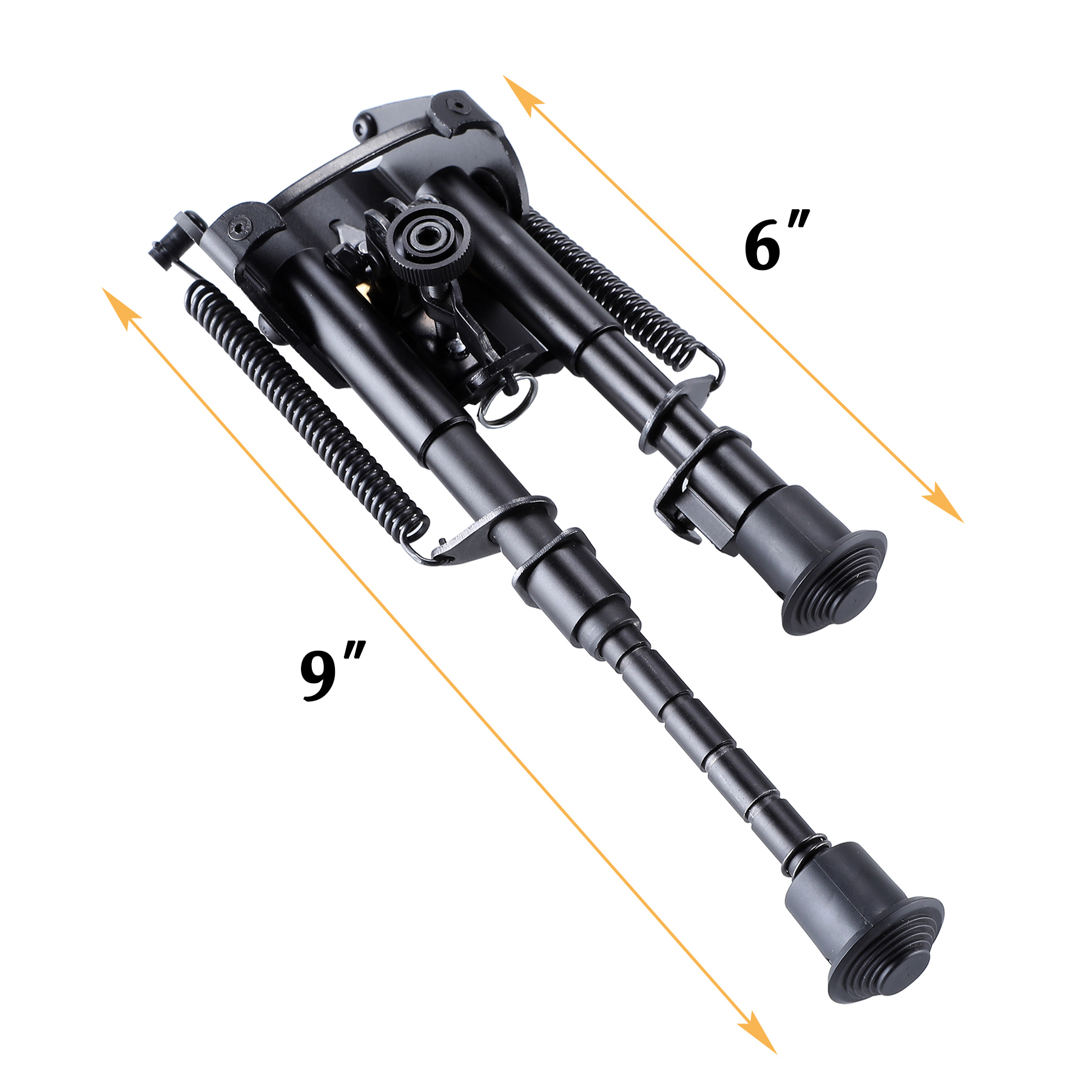 Adjustable Universal Rifle Bipod w/ Swivel Stud Mount & Rail Mount Adapter 6-9""