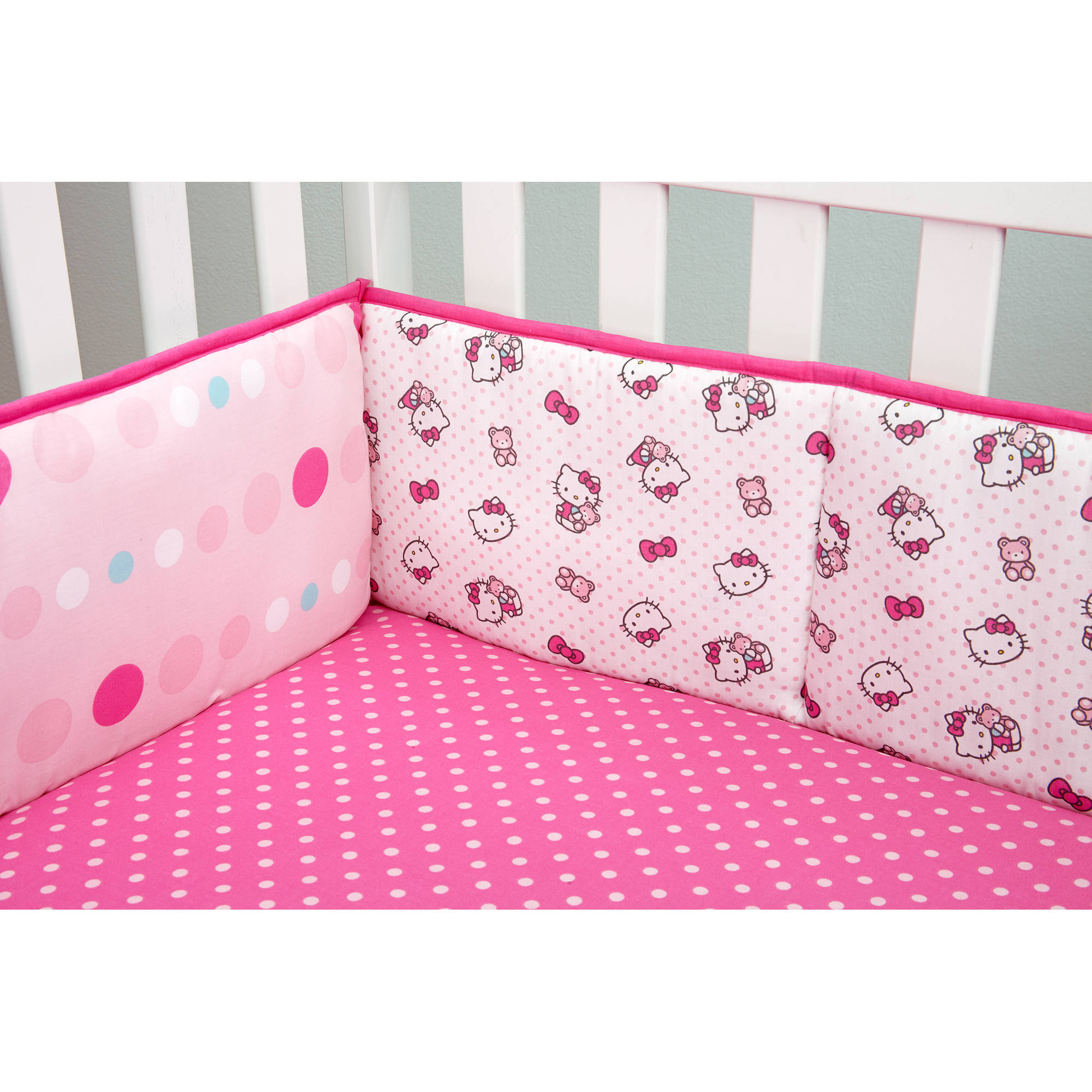 Hello Kitty Cute as a Button Crib Bumper