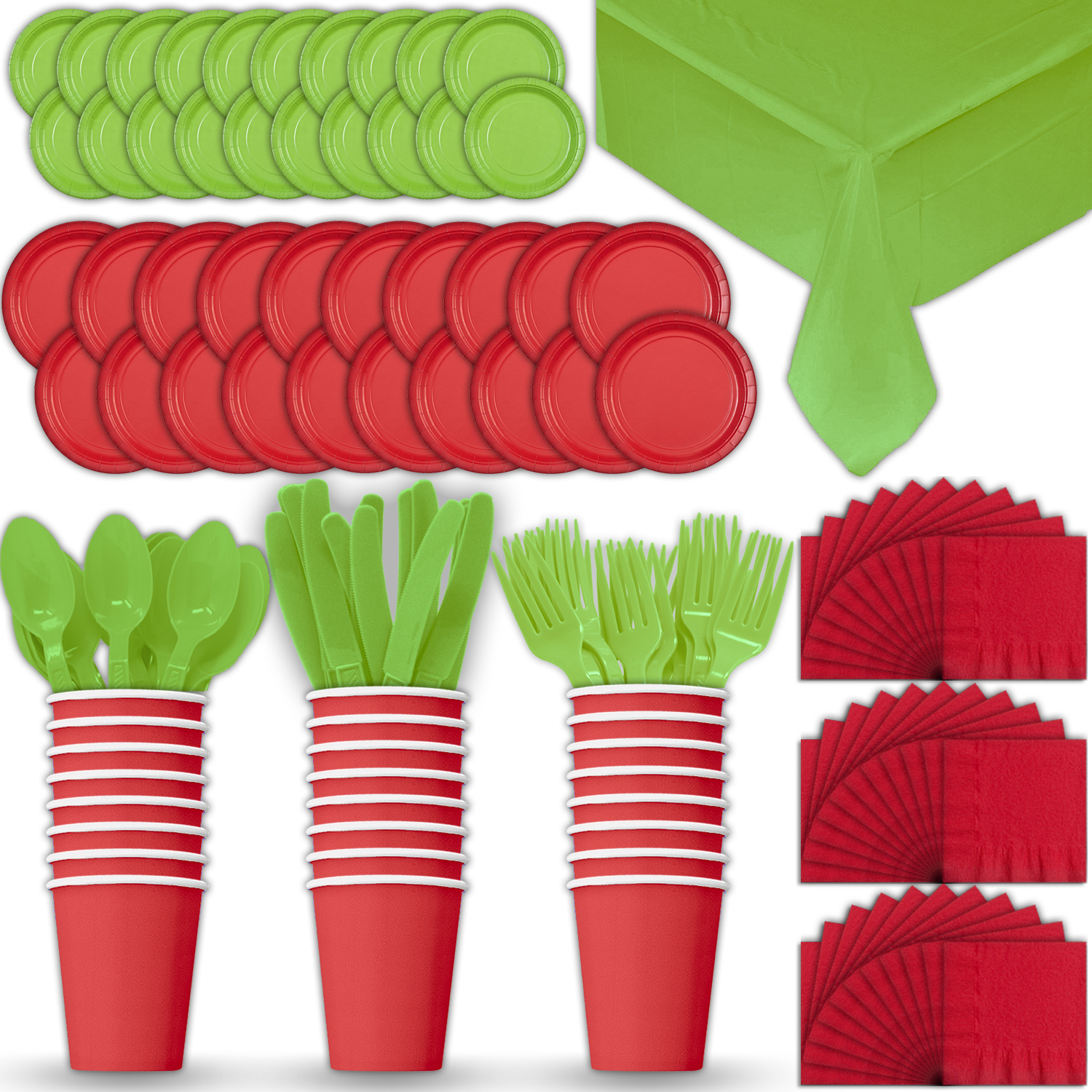 Paper Tableware Set for 24 - Red & Lime Green - Dinner and Dessert Plates, Cups, Napkins, Cutlery (Spoons, Forks, Knives), and Tablecloths - Full Two-Tone Party Supplies Pack