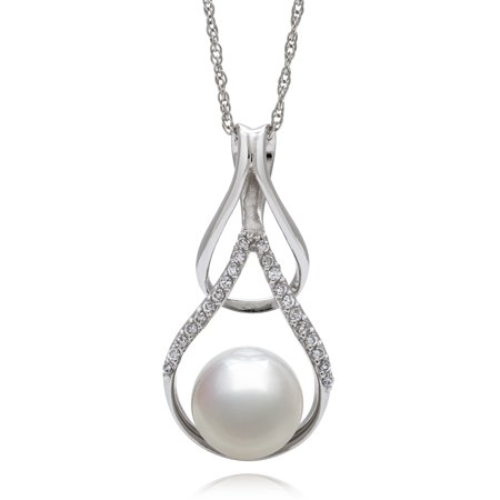 9-10mm Button Cultured Freshwater Pearl and White Topaz Sterling Silver Teardrop Pendant, 18