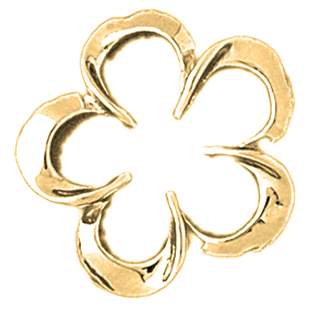 10K Yellow Gold Flower Pendant - 24 mm