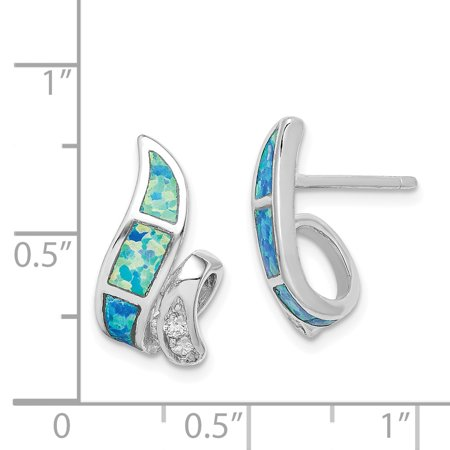 Sterling Silver CZ Blue Inlay Created Opal Twisted Earrings QE9406 - image 1 of 2