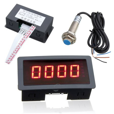 Red  4 Digital LED Tachometer RPM Speed Meter with Proximity Switch Sensor NPN - image 3 of 8