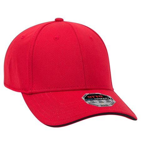 OTTO Polyester Cool Mesh Sandwich Visor 6 Panel Low Profile Baseball Cap - Red/Red/Blk Cool Mesh Polyester 2 Button