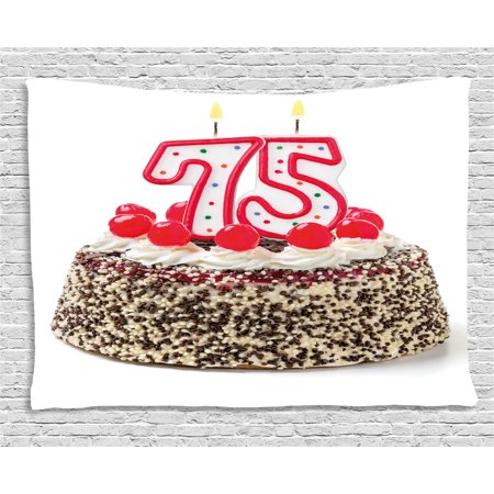 75th Birthday Decorations Tapestry, Cute Number Candles on a Delicious Cake with Cherries Happiness, Wall Hanging for Bedroom Living Room Dorm Decor, 60W X 40L Inches, Multicolor, by Ambesonne