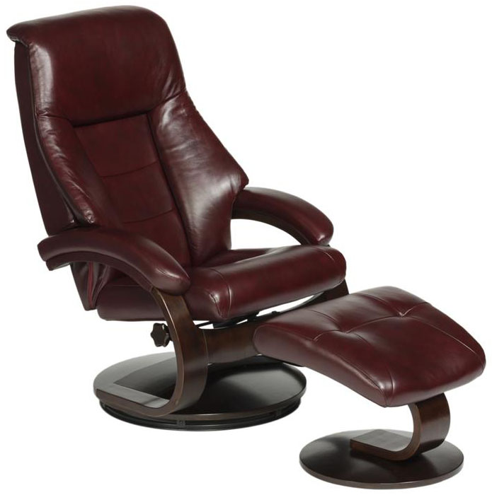 Mac Motion - 58 Series Leather Recliner and Ottoman - Merlot/Alpine