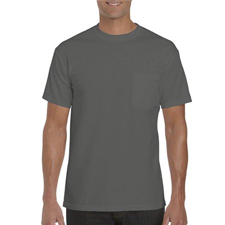 G5300-Charcoal-S Heavy Cotton Adult Tee with Pocket, Charcoal - Small