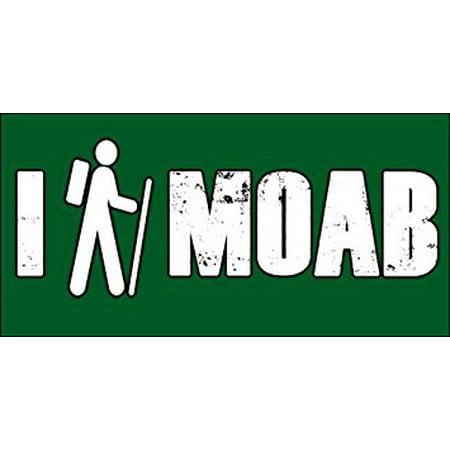 I HIKE MOAB Sticker Decal(decal trail hiking utah) Size: 3 x 6