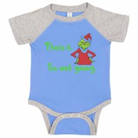"""Kids Adorable Baseball Onesie """"That's It, I'm Not Going"""" The Grinch - Scrooge, 0-3 months, Grey Solid Short Sleeve"""