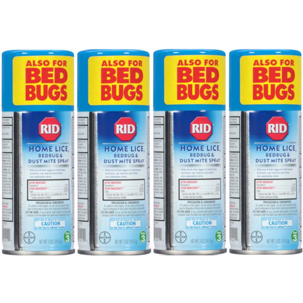 4 Pack RID Step 3 Home Lice, Bedbug & Dust Mite Spray 5 oz (141.8 g) Each