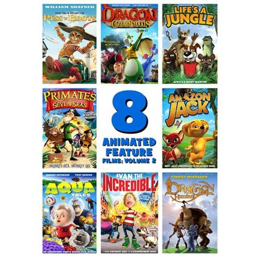 8 Animated Feature Films: Volume 2 The True Story Of Puss 'N Boots   Dragon Guardians   Life's A Jungle  ... by