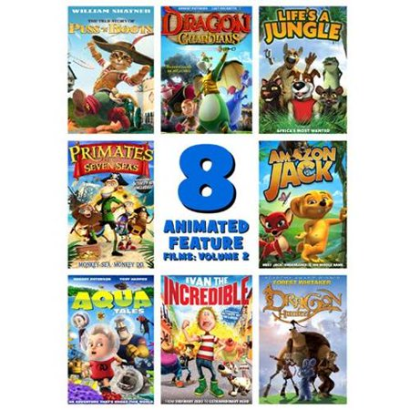 8 Animated Feature Films  Volume 2   The True Story Of Puss N Boots   Dragon Guardians   Lifes A Jungle   Primates Of The Seven Seas   Amazon Jack   Aqua Tales   Ivan The Incredible   Dragon Hunters