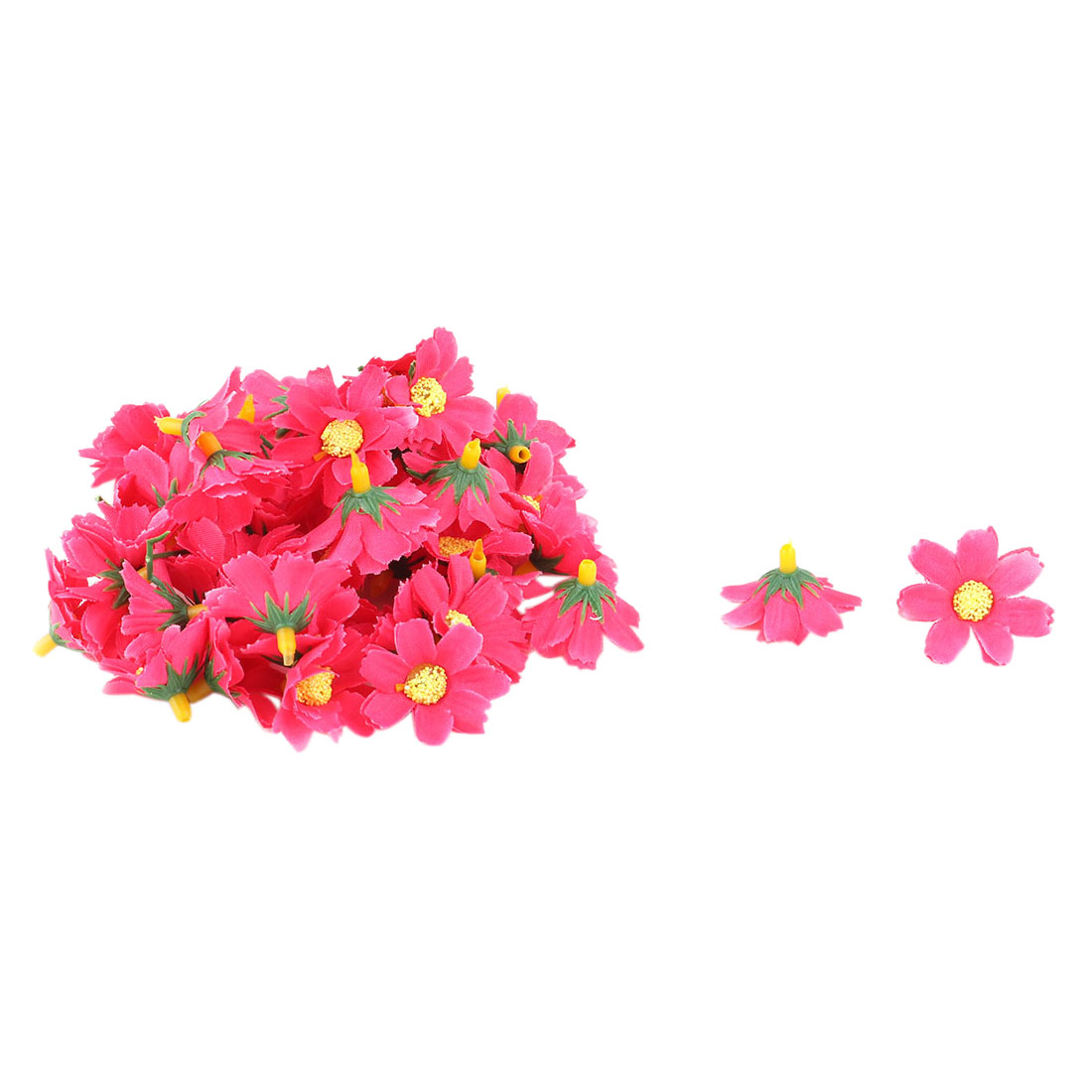Garden Fabric Daisy Shaped DIY Decoration Table Flower Heads Fuchsia 50 Pcs