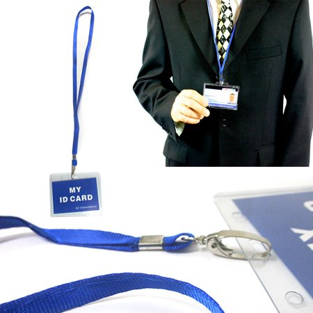 Transparent Vinyl Lanyard - 12 Pc ID Name Tag Badge Card Holder Clear Case Blue Lanyard Horizontal License