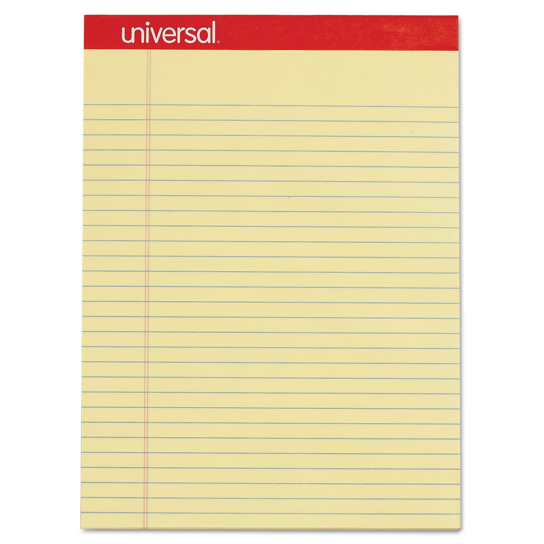 Universal Perforated Ruled Writing Pad, Legal/Margin Rule, Letter, Canary, 50 Sheet, Dozen -UNV10630