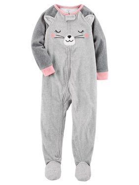0314c8e50 Product Image Carter's Little Girls' 1 Piece Cat Fleece Pajamas, 3-Toddler