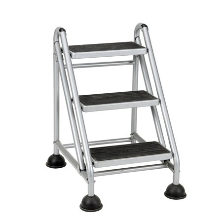 Cosco Rolling Commercial Step Stool 3 Step Platinum