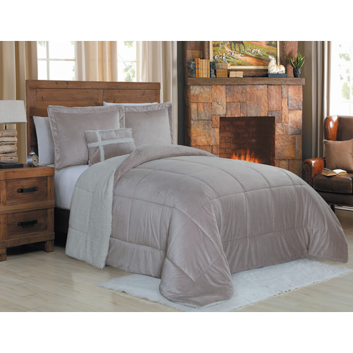 Geneva Home Fashion Micro Mink 3 Piece Reversible Comforter Set