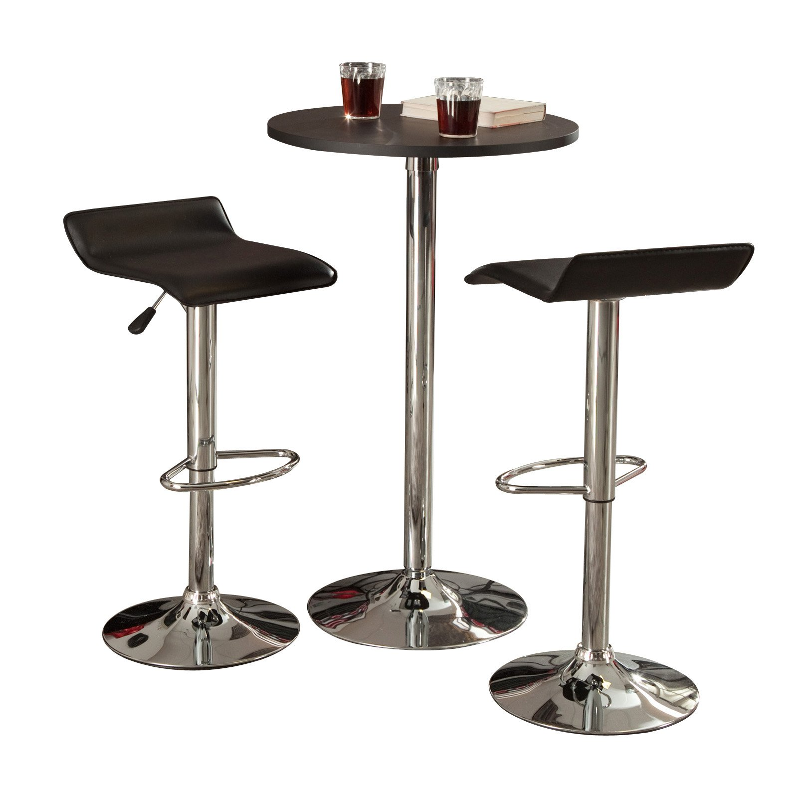 Super Winsome Wood Spectrum Pub Table Stools 3Pc Set Black Chrome Walmart Com Onthecornerstone Fun Painted Chair Ideas Images Onthecornerstoneorg