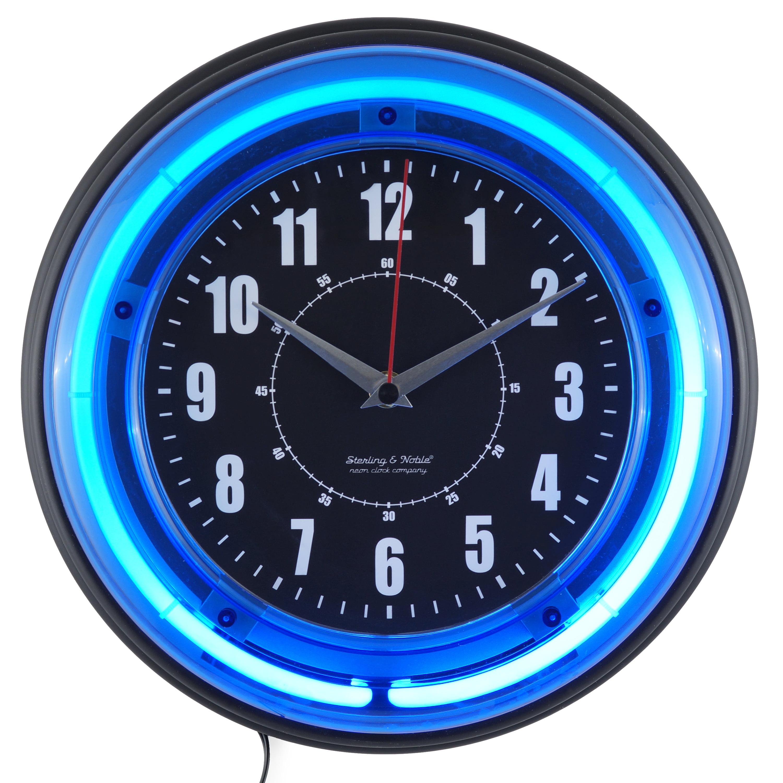"11"" Blue Neon Analog Wall Clock"
