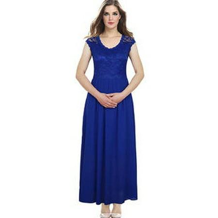 Unomatch Women Lace Designed Floral Top Party Dress Royal (Blue Womens Dress)