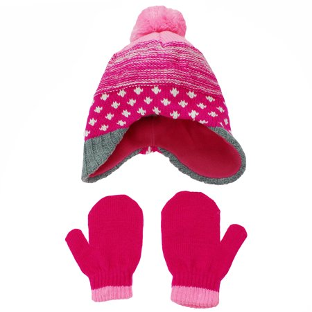 Hanes Toddler Girls Fleece Lined Knit Peruvian Winter Hat and Mitten Set Pink Pom Pom for $<!---->