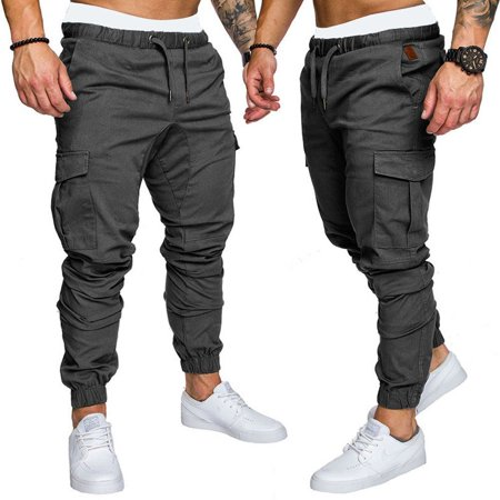 Fashion Mens Casual Pants Twill Jogger Hip Hop Elastic Sports Slim Fit Stretch Trousers