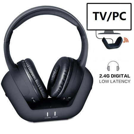 Wireless Over-Ear TV Headphones, Digital Stereo Headphones with Charging Dock, 2.4 GHz RF Transmitter, 100ft Wireless Range and Rechargeable 20 Hour Batteryfor Mobile PC TV MP3 - Black (2.4 Ghz Wireless Headphones)