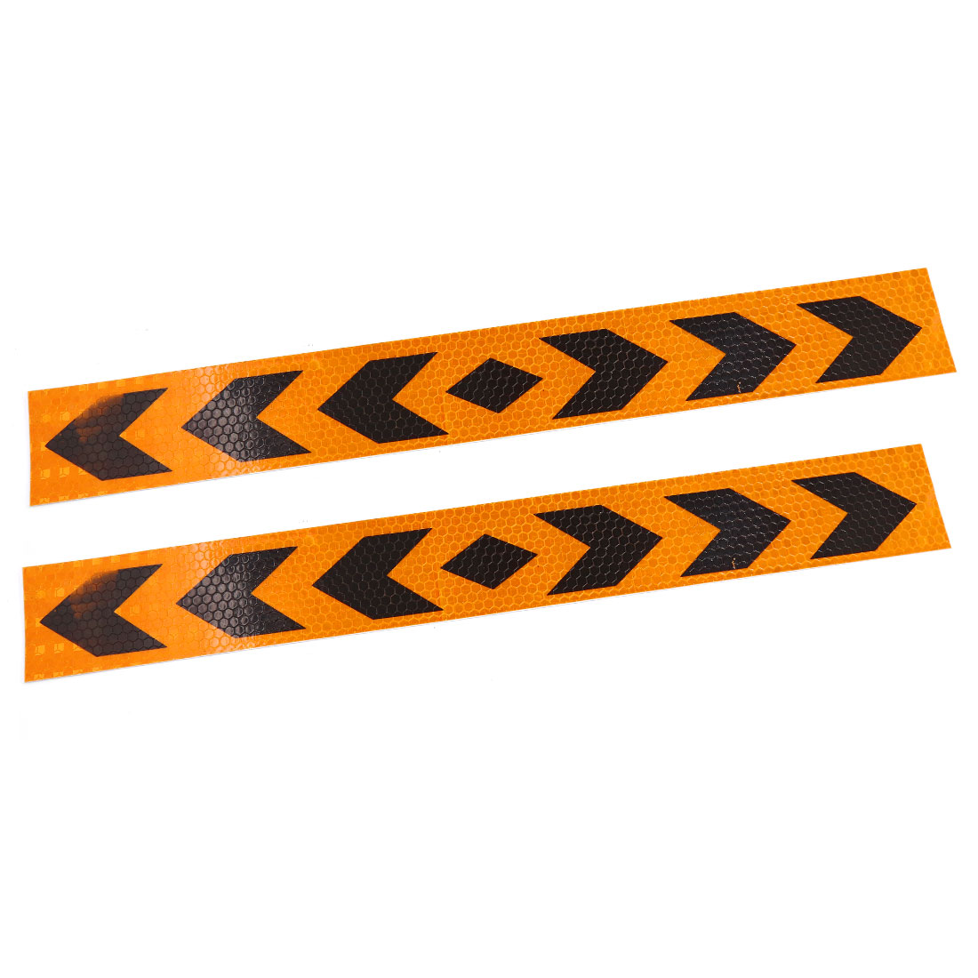 2 Pcs 39cm x 4.8cm Arrows Print Adhesive Reflective Sticker Orange Black