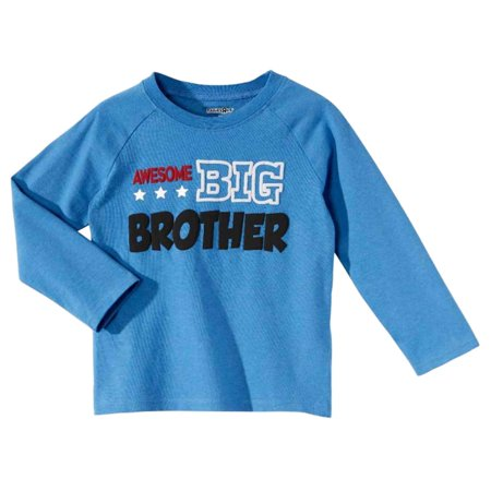 Infant & Toddler Boys Long Sleeve Blue Awesome Big Brother Tee Shirt Top - Koala Brothers Names