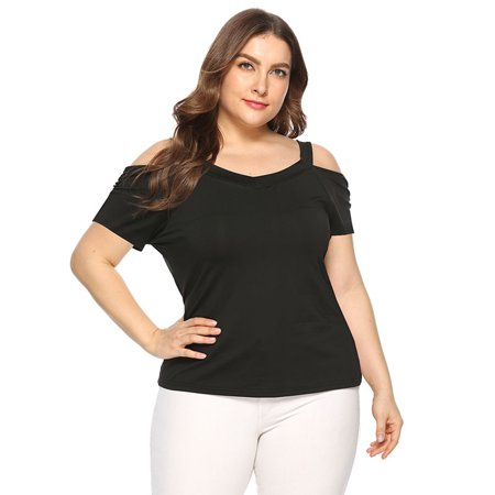Womens Plus Size Tops Clearance - Short Sleeve Blouse Solid V Neck Cut Out Cold Shoulder Comfy Casual Daily T-Shirt Basic Tee Shirt