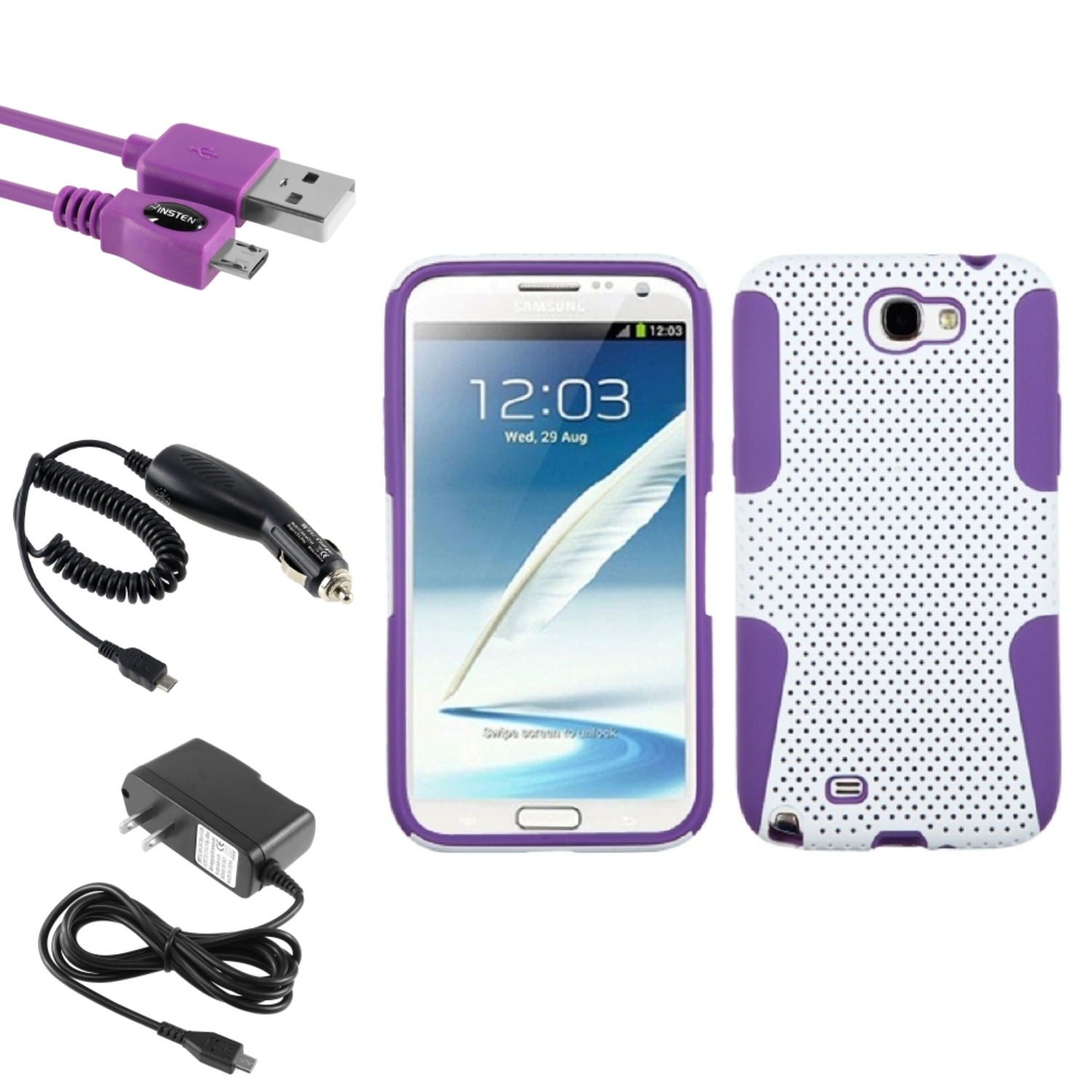 Insten Purple/White Hybrid Case DC Home Charger Cable For Samsung Galaxy Note 2 II