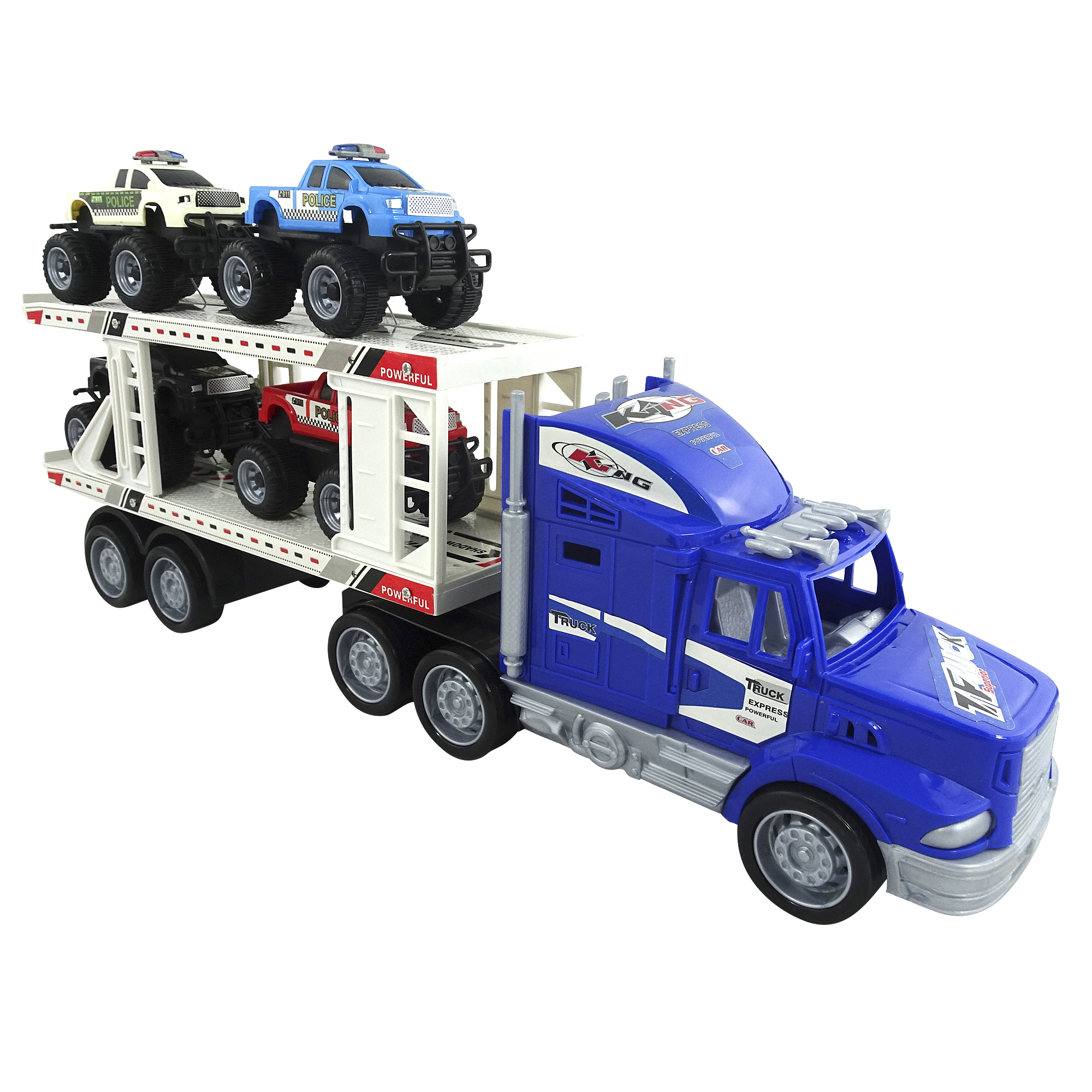 Toy Truck With Trailer Towing 4 Mini Monster Trucks Play Set
