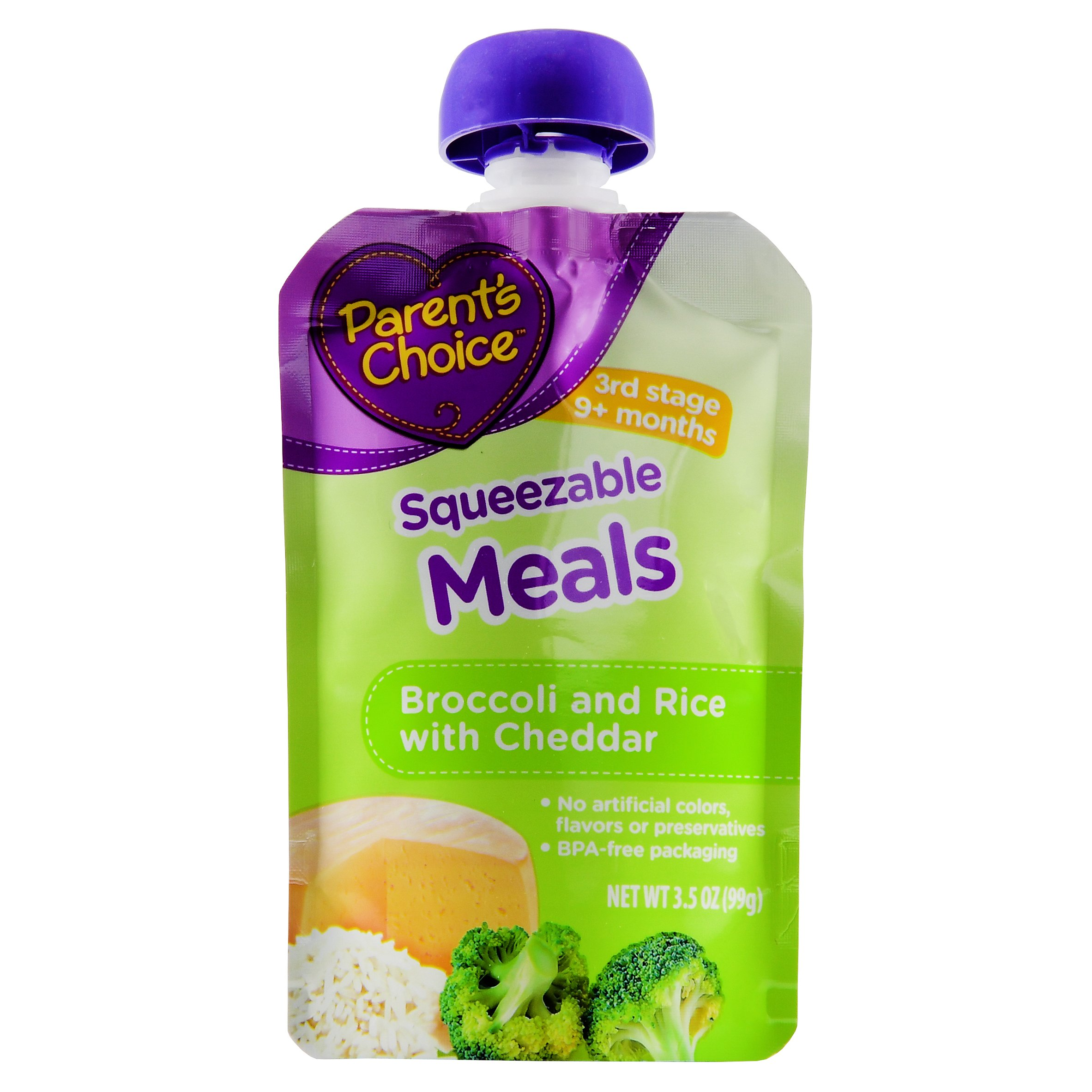 Parent's Choice Baby Food, Stage 3, Broccoli & Rice with Cheddar, 3.5oz Pouch