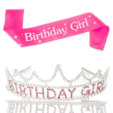 Birthday Girl Tiara and Sash Girls Party Accessories Set Pink and Silver Bundle (Tiara and Sash)