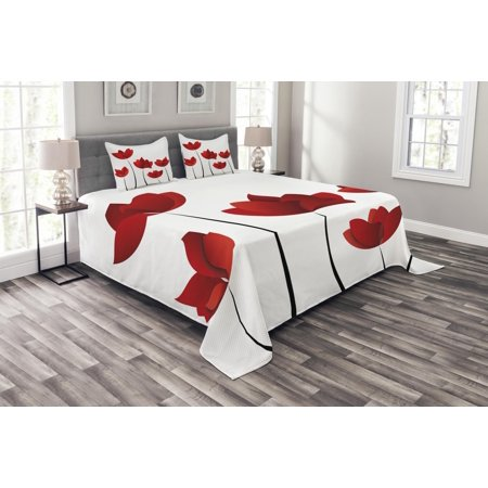 Exquisite Rose (Floral Bedspread Set, Valentines Inspired Exquisite Rose Petals Vivid Blossoms Florets Nature Illustration Image, Decorative Quilted Coverlet Set with Pillow Shams Included, Red, by Ambesonne)