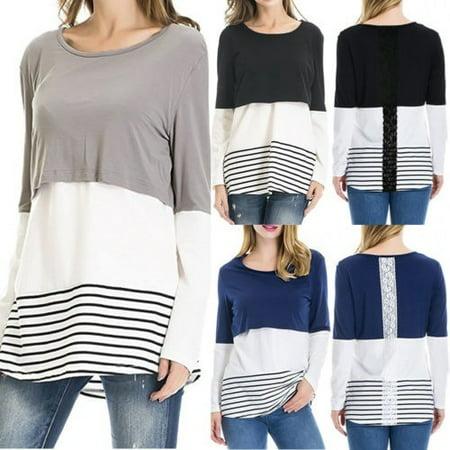 b219b38b09d07 Emmababy - USA Women Maternity Breastfeeding Tee Nursing Tops Striped Long  Sleeve T-shirt - Walmart.com