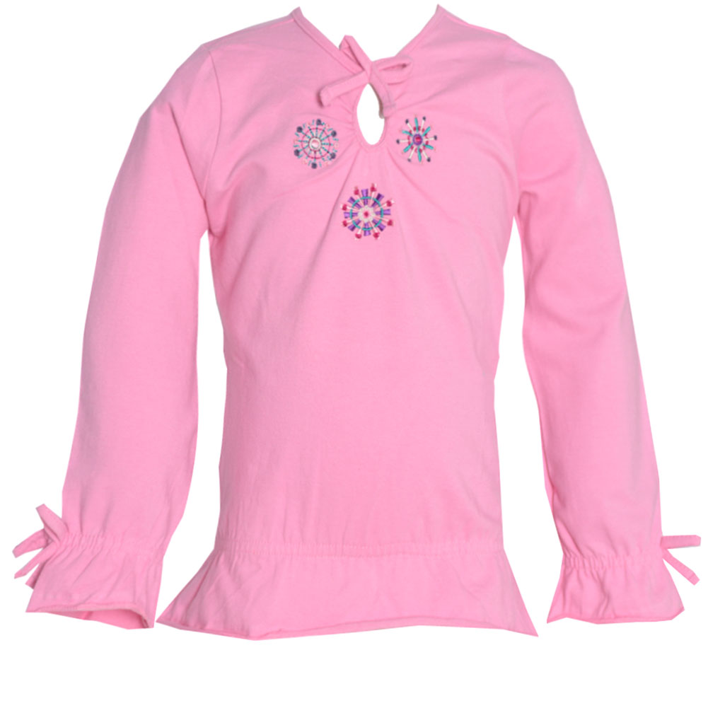 No Fuze Little Girls Pink Floral Teardrop Keyhole Long Sleeve Shirt 3T
