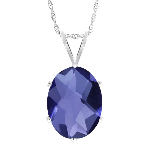 0.65 Ct Natural Oval Checkerboard Shape Iolite 925 Sterling Silver Pendant
