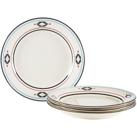 Mainstays Southwestern Border Collection Beige Stoneware Dinner Plate Set, 4 - Black Rim Dinner Plate